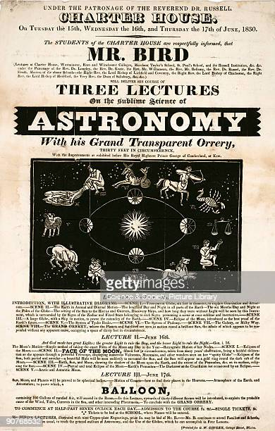 Handbill advertising a series of lectures on astronomy to be given on the 15-17 June 1830 to the students of Charter House, Westminster, London by Mr...