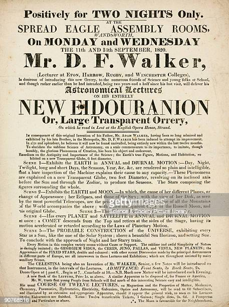 Handbill advertising astronomical lectures by Mr D F Walker, including a demonstration of the �Eidouranion� or �Large Transparency Orrery�, at the...
