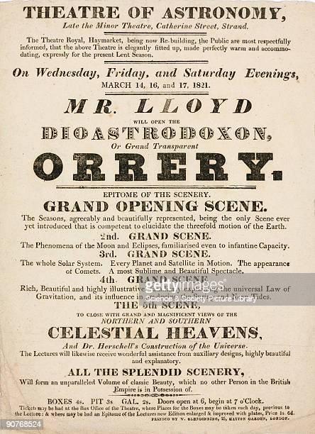 Handbill advertising astronomical lectures illustrated with a demonstration of the �Dioastrodoxon� or �Grand Transparency Orrery�,at the Minor...