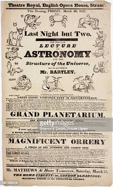 Handbill advertising the last night but two of a series of lectures on astronomy and the phenomena of the heavens and earth to be given at the...