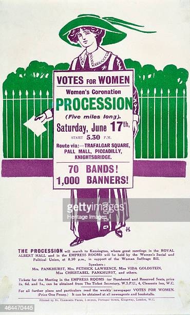 Handbill advertising the Women's Coronation Procession on Saturday 17 June 1911 A suffragette is taking part in a 'poster parade' Her sandwich board...