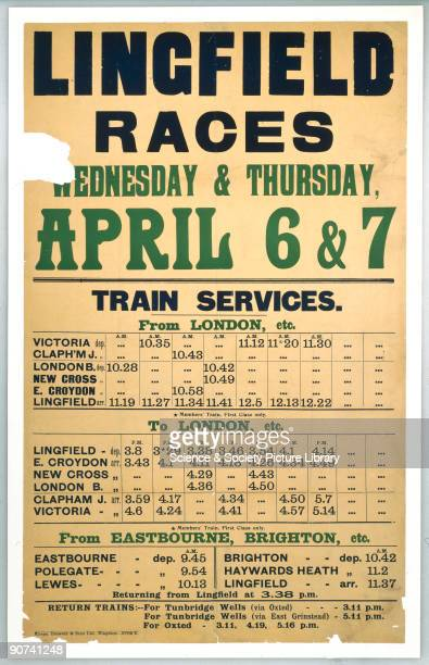Handbill 'Lingfield Races' showing the timetable for the trains to Lingfield 6 7 April