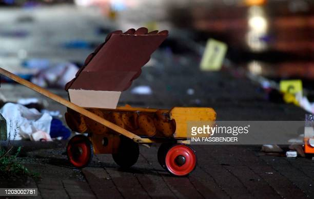 A handcart is seen at the place where a man drove into a carnival procession on February 24 2020 in Volkmarsen near Kassel central Germany Several...