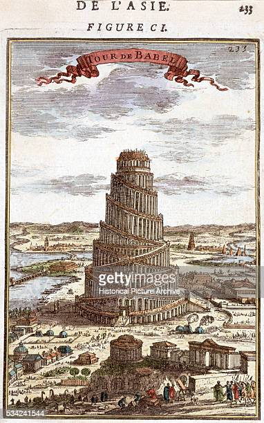 A handcolored copper engraving by AM Mallet depicting the Tower of Babel Circa 1683