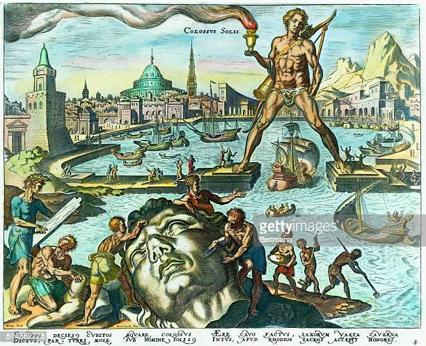 A handcolored engraving of the Colossus of Rhodes on of the Seven Wonders of the ancient world