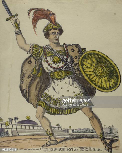 Handcolored illustration likely an etching depicting a fulllength view of British actor Edmund Kean with an angry expression on his face holding a...