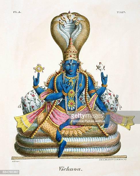HandColored Lithograph of Vishnu on a Naga Throne