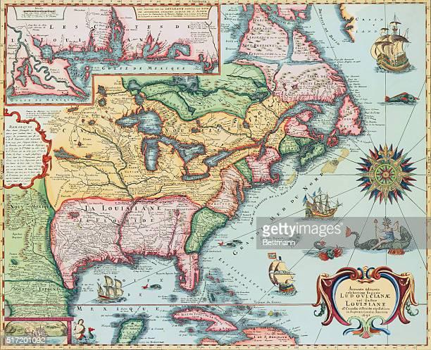 Handcolored map of North America 1698