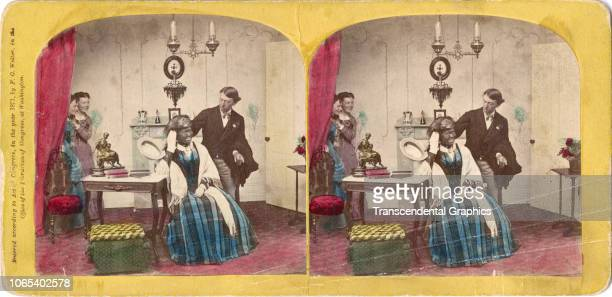 Hand-colored, racist, stereoscopic portrait of a woman in blackface, as others stand around her, London, England, mid 1850s.
