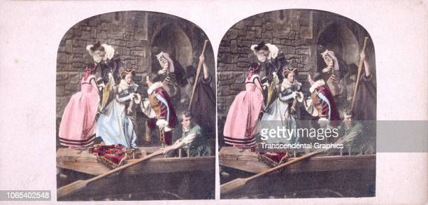 Hand-colored, stereoscopic view of Mary Queen of Scots as she escapes from Loch Leven Castle, where she had been imprisoned, Scotland, May 2, 1568.