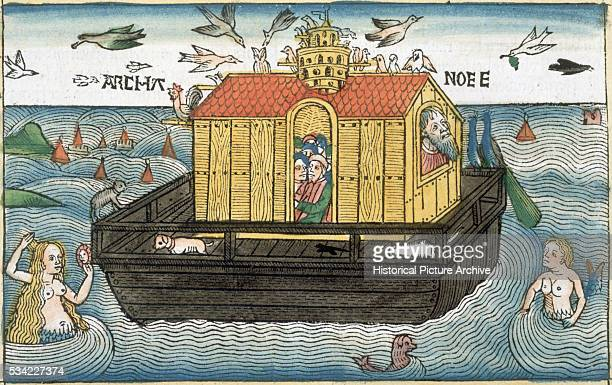 HandColored Woodcut of Noah's Ark
