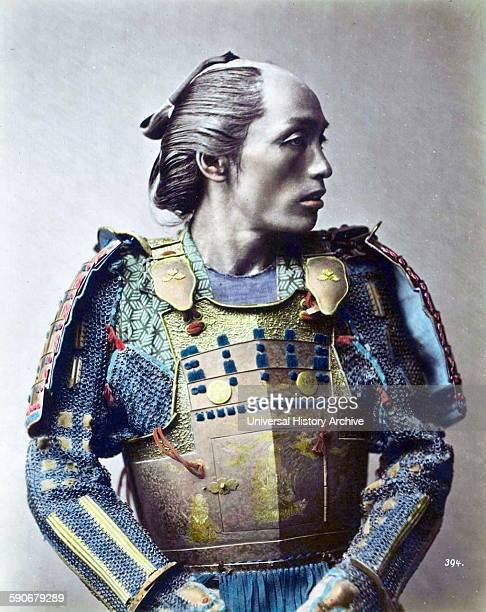 HandColour photograph of a Japanese Samurai warrior by Franz von StillfriedRatenicz Dated 1881
