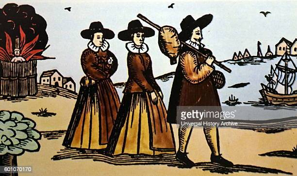 Handcoloured engraving depicting Puritans about to emigrate from England motivated by a desire for religious freedom Dated 14th Century
