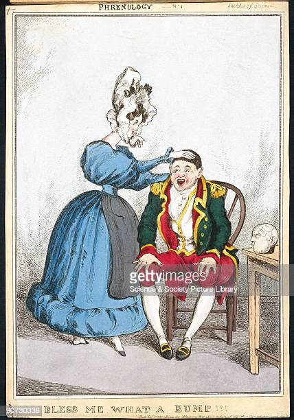 Handcoloured engraving published by T McLean of 26 Haymarket London showing a woman examining a man's head The Viennese physician Franz Joseph Gall...