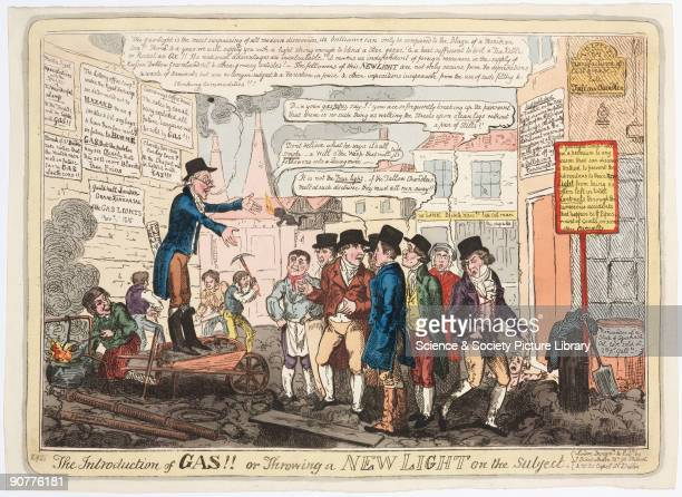 Hand-coloured engraving subtitled �Throwing a New Light on the Subject� by George Cruikshank , satirising the introduction of gas street lighting....