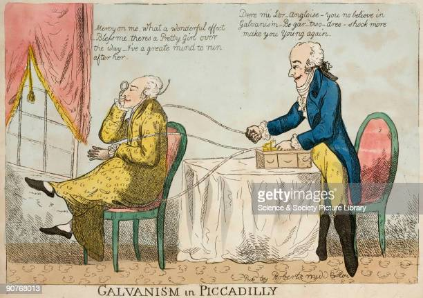 Handcoloured etching by Robert Middleton satirising the use of �galvanic� machines to treat a wide variety of complaints by running electric current...