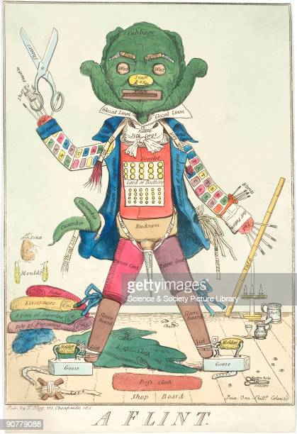 Hand-coloured etching priced at one shilling. Various items of the tailor�s trade make up his body, including a cabbage for his head, pattern card...