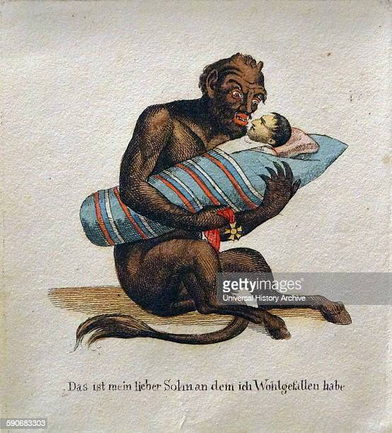 Handcoloured etching titled 'Das ist mein lieber Sohn' by Anonymous Dated 1814