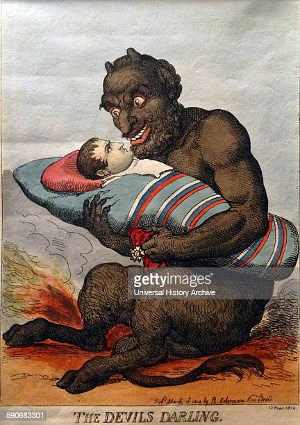 Handcoloured etching titled 'The Devils Darling' by Thomas Rowlandson English artist and caricaturist Dated 1814