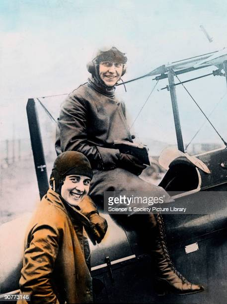 Hand-coloured lantern slide. In 1930, English pilot Amy Johnson became the first woman to fly solo from England to Australia, winning £10,000 from...
