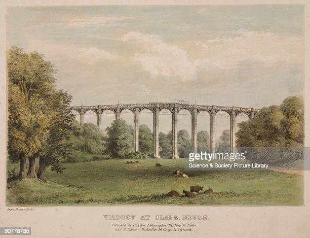 Handcoloured lithograph of a steam locomotive crossing the Blatchford Viaduct South Devon Railway The 101foot high trestle viaduct with stone piers...
