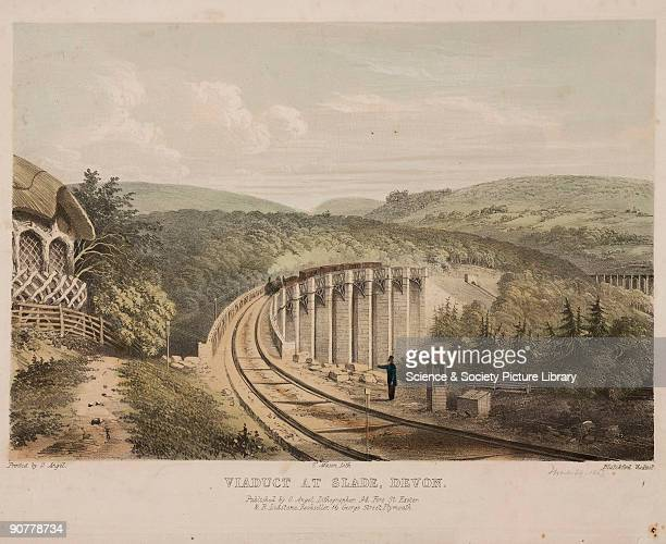 Handcoloured lithograph of a steam locomotive on the Blatchford Viaduct South Devon Railway The 101foot high trestle viaduct with stone piers was one...