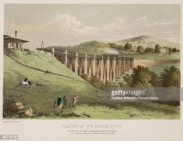 Handcoloured lithograph of the Ivy Bridge Viaduct on the South Devon Railway Isambard Kingdom Brunel engineeered the South Devon Railway which opened...