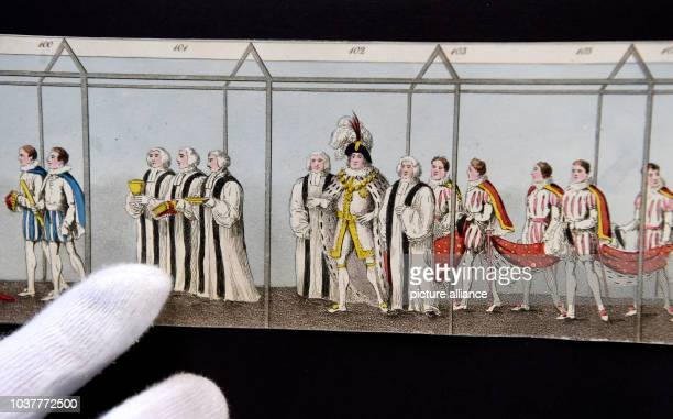Handcoloured print of the coronation train Georg IV measuring nine meters long and six centimeters high is presented for the first time during a...