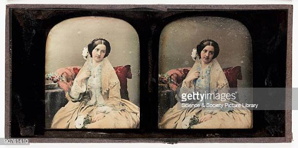 A handcoloured stereoscopic daguerreotype of a young woman taken at the studio of Antoine Claudet Born in Lyons France Claudet moved to London in...
