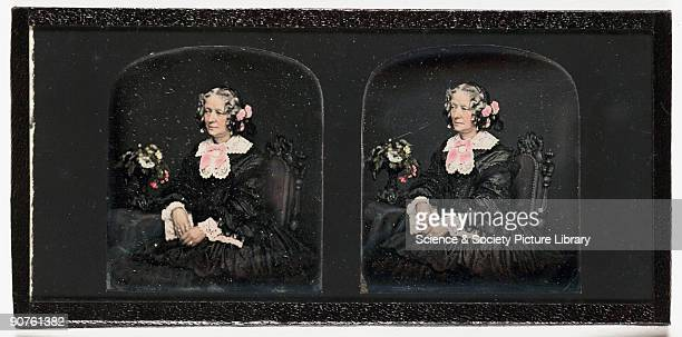 A handcoloured stereoscopic portrait of a woman by John Jabez Edwin Mayall Although born in England Mayall began his photographic career in America...