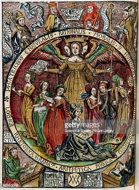 Handcoloured woodcut forming the title page of the 1503 edition of �Margarita Philosophica� by Gregor Reisch In the centre of the picture is a...