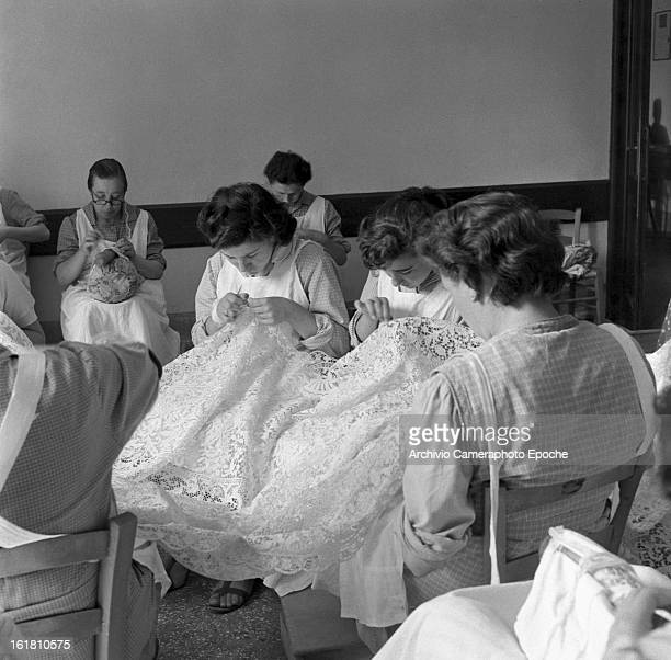 A handcraft lace class Burano 1949
