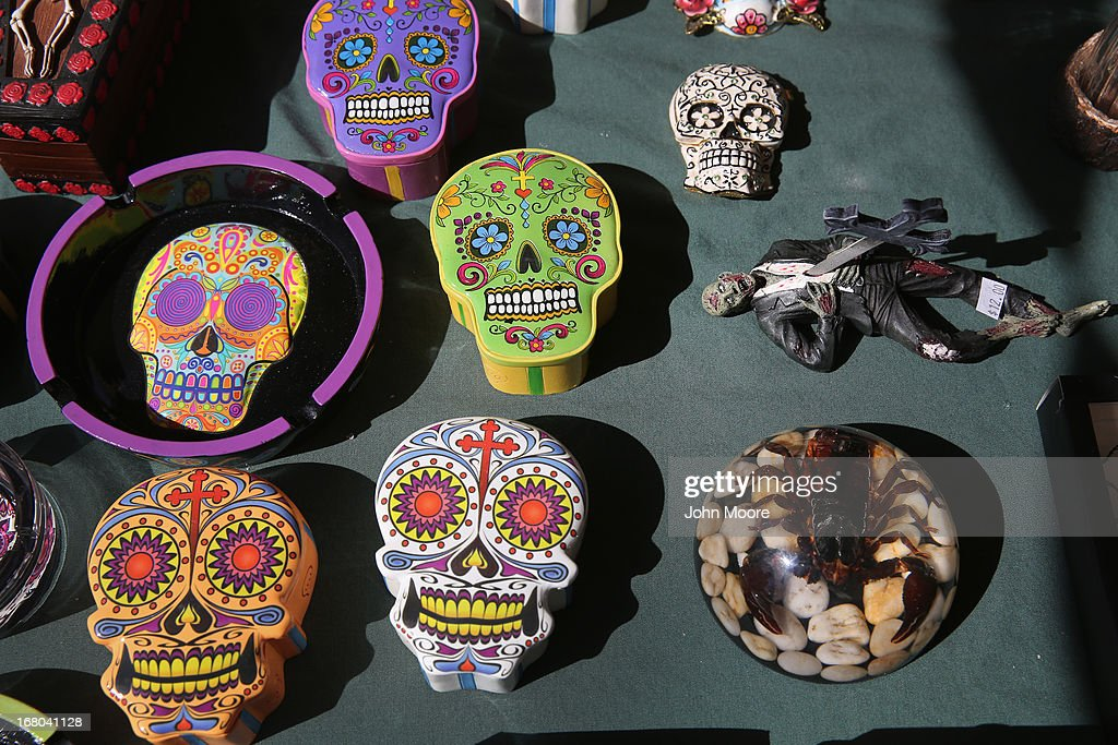 Handcrafted items await sale at a vendor's booth at a Cinco de Mayo festival celebrating Mexican culture on May 4, 2013 in Denver, Colorado. Hundreds of thousands of people were expected to attend the two day event, billed as the largest Cinco de Mayo celebration in the United States. Cinco de Mayo observes the victory of the Mexican army over French forces on May 5, 1862 in the town of Puebla, Mexico. The festival celebrates Mexican culture and is one of the most popular annual Latino events in the United States.