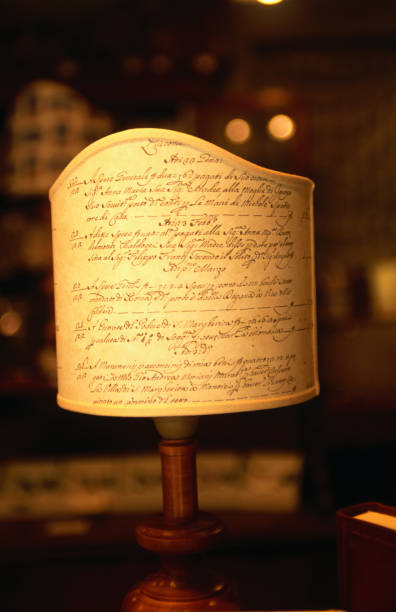 Handcrafted lamp at Il Papiro, marbled paper and stationary shop, on Calle di Piovan.