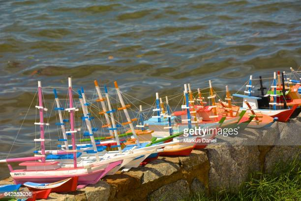 Handcrafted wood boats as souvenirs in the town of Paraty, Rio de Janeiro