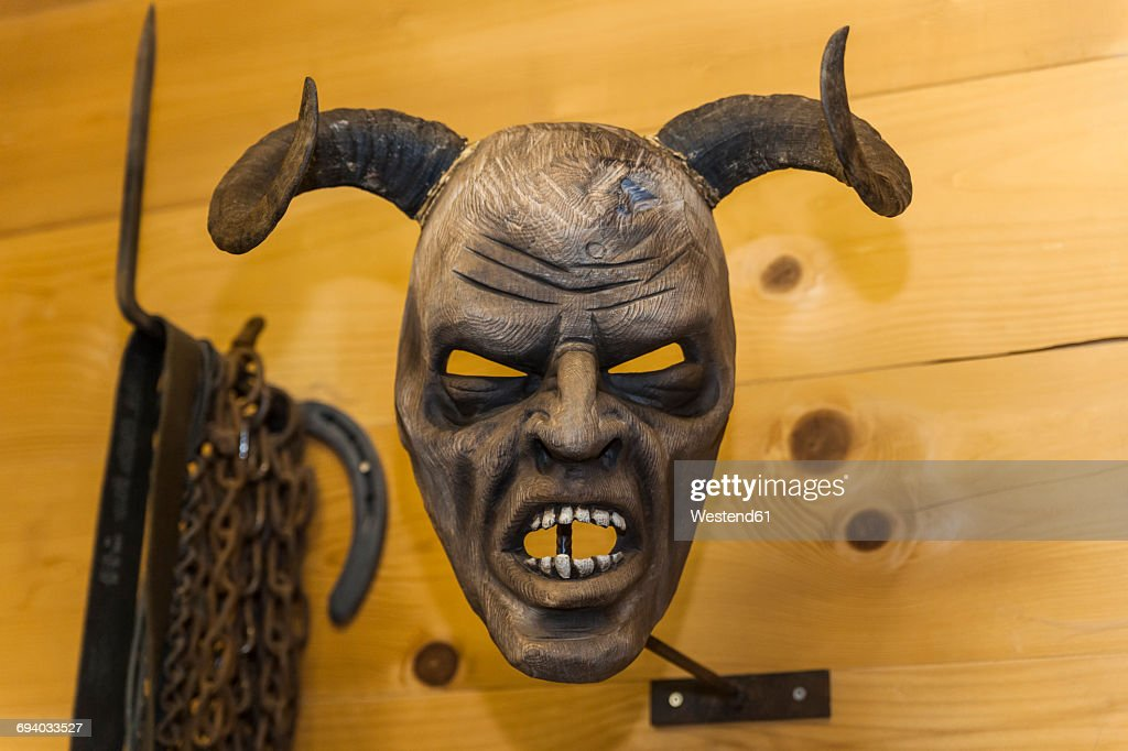 Handcrafted Wooden Krampus Mask Stock Photo Getty Images