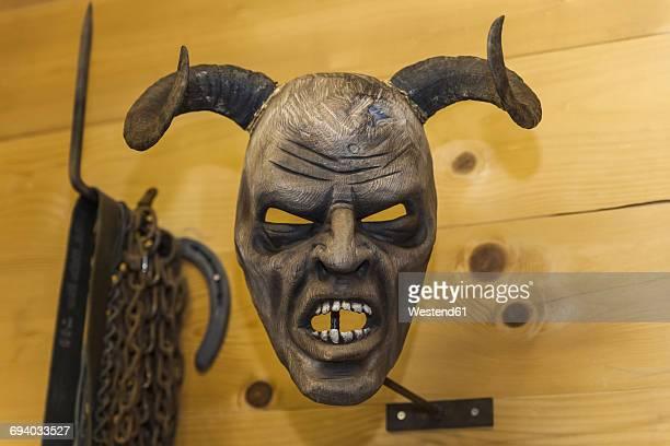handcrafted wooden krampus mask - devil costume imagens e fotografias de stock