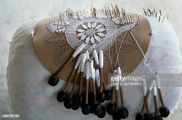 Handcrafting process for bobbin lace-making, Aracati, Ceara State, Brazil.