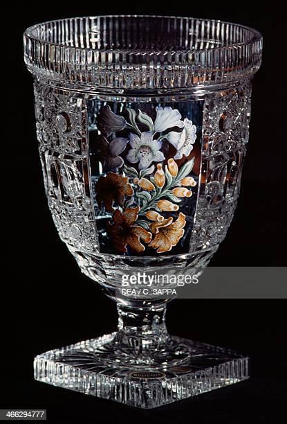 Handcut glass crystal vase Liberec Czech Republic