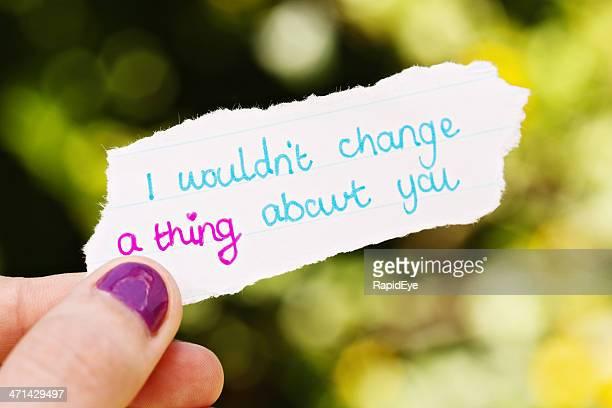 Handgezeichnete Liebe Nachricht nicht möchte etwas ändern