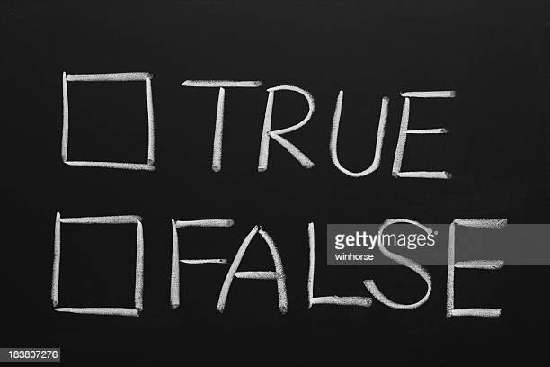 Hand-drawn of true or false checkbox on blackboard