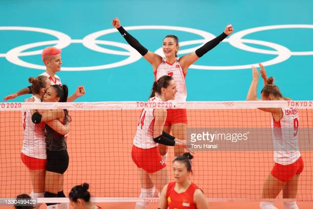 Hande Baladin of Team Turkey celebrates with teammates against Team China during the Women's Preliminary - Pool B on day two of the Tokyo 2020...