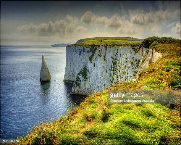 handfast point, on the world heritage jurassic coastline of dorset, south west england. - jurassic coast stock pictures, royalty-free photos & images