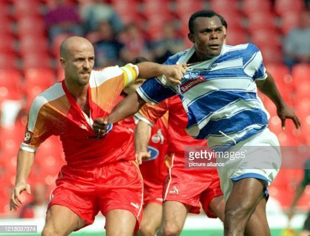 Handfestes hat die 1. Fußball-Bundesliga gleich am 1. Spieltag der neuen Saison am 2.8.1997 zu bieten: Im Köln-Müngersdorfer Stadion prüfen Karsten...