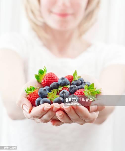 Handful of fresh fruits