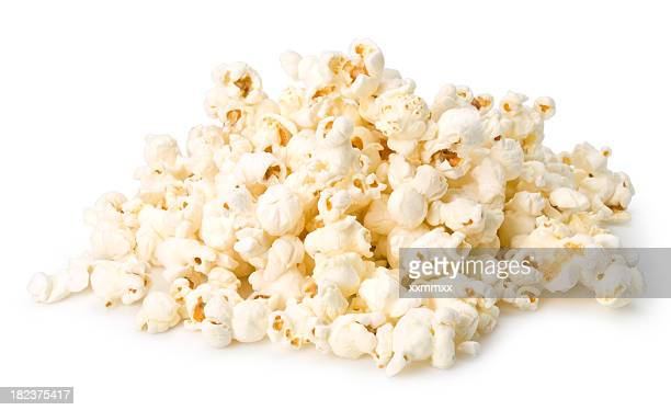 Handful of popcorn isolated on a white background