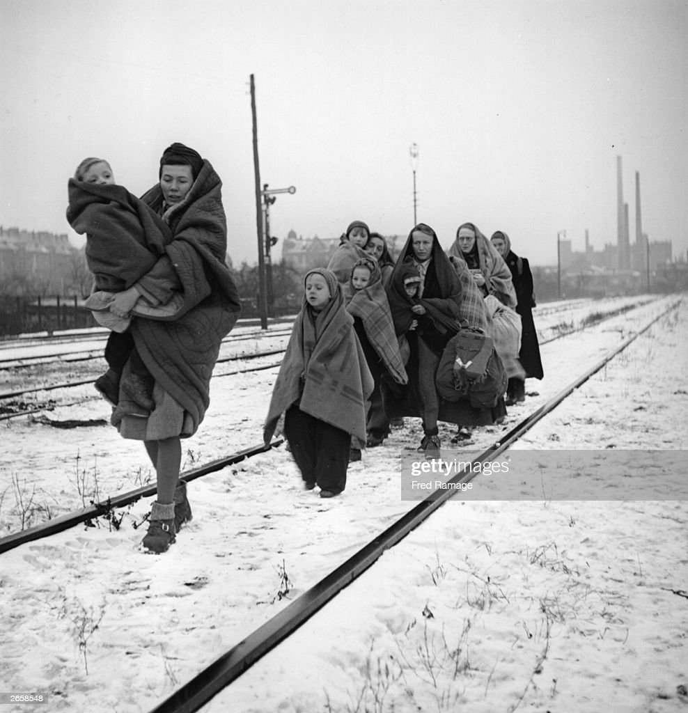A handful of survivors from the 150 refugees who left Lodz in Poland two months earlier headed for Berlin. They are following railway lines on the outskirts of Berlin in the hope of being picked up by a British train.