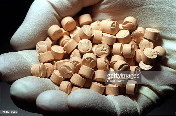 A handful of the 25170 tablets of the drug Ecstasy that were found earlier this week The total drug haul has a street value of over 2 million
