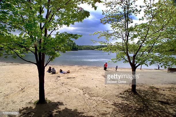 A handful of weekday visitors enjoy the solitude and tranquility of Walden Pond before the warmer weather and vacation season brings large crowds