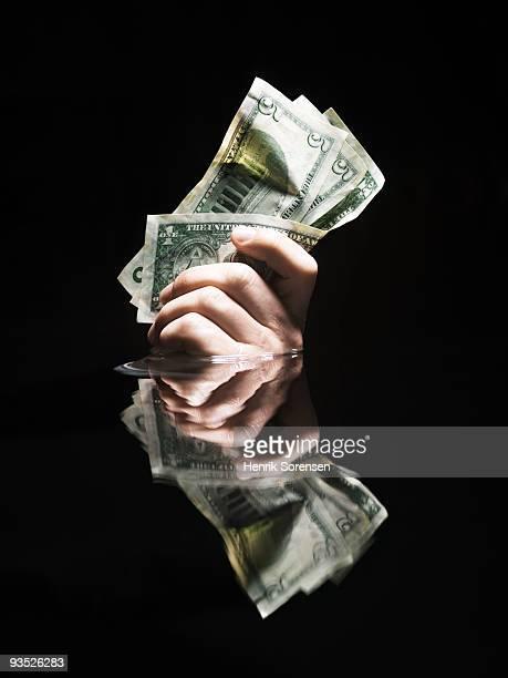 handfull of us dollars in water